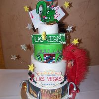 "Viva Las Vegas This was a Vegas-themed cake I did for a girl who was turning 21. She wanted it to be ""busy"" with everything that is Las Vegas...."