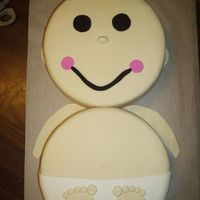 "Fondant Baby A fondant baby made from two 10"" rounds. Both were vanilla cake. One had a homemade strawberry filling, and the other had a homemade..."