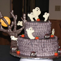 Halloween Birthday Cake This was done for my daughters 11 birthday. She wanted a Halloween themed birthday cake. Chocolate WASC cake with chocolate ghosts and tree...