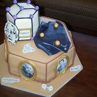"Einstein Groom""s Cake 14"" triple layer chocolate cake with orange chocolate ganache. The small tier is chocolate with chocolate buttercream. Pictures and..."