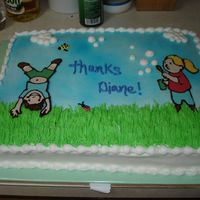 Thank You Cake   11x15 sheet with buttercream and chocolate transfer kids. This was my first atempt at a CT and it worked out well!