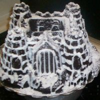 Castle In Blizzard Using the Castle Bundt Pan. Chocolate cake. Used cookie writer for outlining the bricks. Then covered with snowflake sprinkles (hard to see...