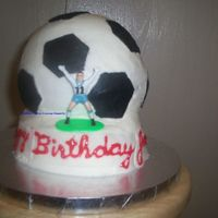 Soccer Cake For a Friend's son's birthday. This is the 'before' picture. It was not secured well enough, and it fell over while...