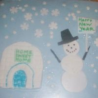 Silly Snowman New Year I wanted to try out my brick fondant mold, so I made an igloo. I then figured, hey a snowman can live in an igloo...I had some snow...