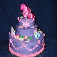 My Little Pony This is one of the first cakes I made, about two years ago. I forgot to upload it. Its buttercream with fondant flowers.