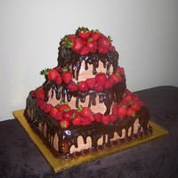 Chocolate Raspberry & Strawberry Chocolate raspberry & strawberry with whiped chocolate mousse and raspberry filling