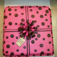 Baby Shower Gift 16x16inch Strawberry cake covered with fondant/fondant accents w/ gumpaste bow.Thanks for looking!