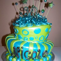 Topsy Turvy Neon blue & green covered fondant w/ gumpaste accents.Silver pearl airbrushed.For 13 year old birthday.
