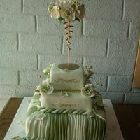 Green And Gold Wedding cake in two shades of green and gold. It was covered in fondant. The flowers are gumpaste. The gold separator is a candle stand I...