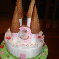Pink Castle Cake is covered in fondant. The castle turrents are pastillage and the cones are ice cream cones. The number 3 is pastillage with some...