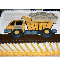 Dump Truck Cake Dump truck cake for friend's birthday at DH's job - (he gets a lot of paperwork dumped on him) -buttercream frosting, cookies for...