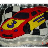Race Car Cake This was the second cake (same design) as the first one got launched off the tray and onto the floor.