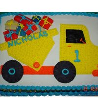Son's First Birthday Design is from a wilton book. Yellow cake with BC. Presents and wheels are cookies.