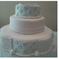 Baby Baptism Three tier cake for a friend's baby's baptism. All tiers are BC covered with fondant (Satin Ice). All decorations are fondant....