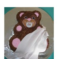 Bear With Blankie BC on the bear. Fondant 'blanket', and a regular pacifier.