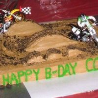 Dirt Track - Motocross Simple, quick, & fun cake! My 9 year old asked for a dirt track cake that looked just like the dirt track his uncle takes him to....