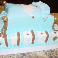 Boy Baby Shower Cake Done for a boy's baby shower. The top cake was supposed to look like a prince's pillow, but instead came out like a bed. She...
