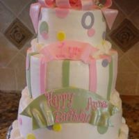 First Birthday Cake This was done for a baby girl's first birthday. All b/c, fondant accents.