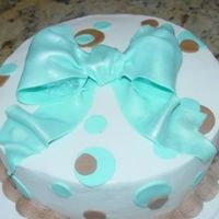 Brown/turquoise Polka Dot Cake Small birthday cake, bc/fondant accents.