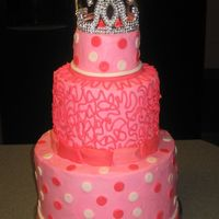 "Another Pink Princess This cake was for a TN Dream Girls beauty pagent over the weekend. It's 9"", 6"", 4"" tiers with buttercream frosting and..."