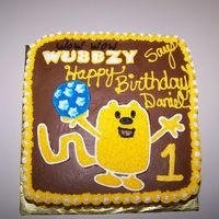 Wow Wow Wubbzy Cake For 1St Birthday WOW WOW Wubbzy cake for 1st birthday! The cake was chocolate and I wish you could see his face after his big piece of chocolate cake! He...