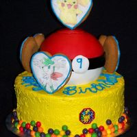 Pokemon Cake With Cookies I made this for a girl that is a HUGE fan of Pokemon. It has Pokemon rings pressed in the sides of the cakes and I used edible images on...