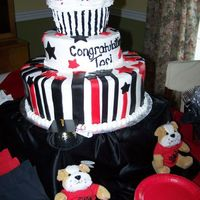 Graduation Cake With Giant Cupcake Top I made this Graduation Cake with Giant Cupcake Top. Her colors are black and red. It's buttercream with fondant accents. I cut the...