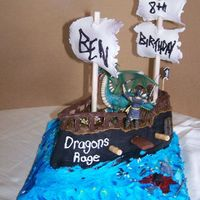Pirate Ship Birthday Cake For Ben This is my 3rd pirate ship cake. You could eat everything but the mast poles and the characters. My nephew wanted a ninja fighting a dragon...