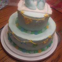 Baby_Shower_Cake.jpg I did this for a co-worker's baby shower. White almond sour cream cake with buttercream. Fondant booties (first time trying this) and...