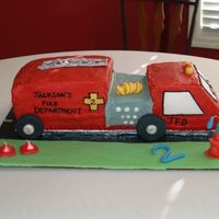 Firetruck Birthday Cake This was for my 2 year old's birthday party. Devil's food cake with cookies and cream filling, buttercream icing with fondant...