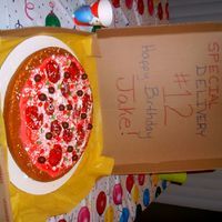 "Pizza Cake   CAKE WITH RED BUTTERCREAM FOR ""SAUCE"" AND CANDIES FOR THE ""TOPPINGS"""