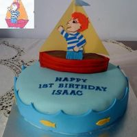 For 1St Birthday Of Friend's Son Fondant - based on party invitation design