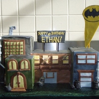 Batman Block Vanilla cake covered in fondant with fondant/gumpaste accents. Thank you for the ideas CC!