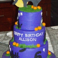 "Allison's Halloween Birthday Thank you CC for this idea. My daughter loved the picture and wanted a cake ""just like this one"". Buttercream with fondant/..."