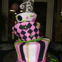 60Th Birthday Topsy Turvy All fondant. It shifted during transportation.
