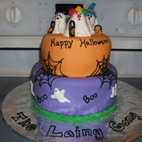 Halloween Cake Halloween cake for class party. All fondant.