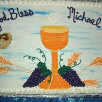 First Communion I made this cake for my Godson. He really liked it. Iced with buttercream.