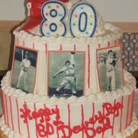 "Phillies Fan Birthday cake for a big Phillies fan...used to play ball in high school. Baseball cap is make from chocolate mold. ""Baseball Cards&..."