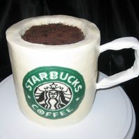 Starbucks Mug Made for my hubby's b-day. Chocolate cake covered in BC with BC image transfer.