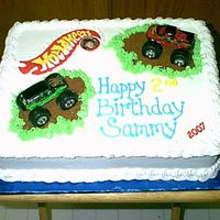 """hot Wheels"" Monster Truck Cake... I made this Hot Wheels cake for my Grandsons 2nd Birthday...It's Yellow Cake with Bavaian Creme Fill. The icing was all Buttercream..."