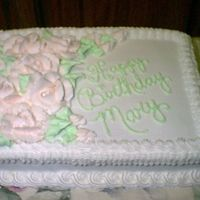 """sheet Cake With Large Pink Roses"" All Buttercream Icing.....large pink roses. This cake was for a co-worker."