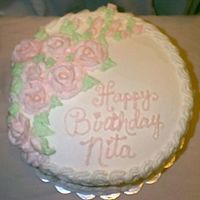 Birthday Cake With Pink Roses... All Buttercream....French Vanilla Cake with Pineapple Filling.