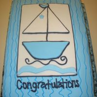Sailboat Baby Shower Cake   Sailboat Baby Shower cake made to match invitation, covered in MMF, with MMF Saillboat and buttercream lines...