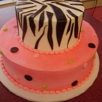 "Zebra Stripes For 16 yr. old. Fondant zebra stripes for 6"" and a mix of BC dots w/ fondant dots."