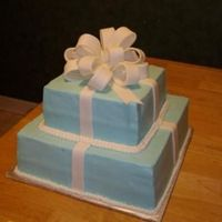 "Sany0654Cropped.jpg This is a ""tiffany"" box cake for a bridal shower. Bow and ribbons are fondant."