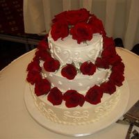 My All Buttercream Wedding Cake This is the first buttercream wedding cake that I have done. It was vanilla butter cake on the top 2 tiers, and chocolate butter cake on...