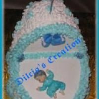 Bassinet This is a 3d bassinet decorated with buttercream icing. The baby was made out of fondant. This is the best way to make a bassinet cake...