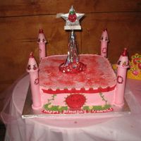 Strawvery Shortcake Princess Castle This cake was made for one of my customer's daughter. She wanted a strawvery shortcake princess theme castle. This is a tres leches...