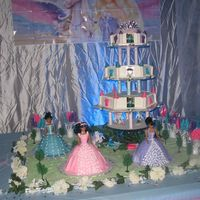 Fairytale Barbie Each castle tier has an edible picture of the b'day girl. The top of the castle has a crown. Each cake separator was created by me...
