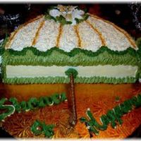 "Shower Umbrella This was a 16"" cake cut in half and stacked with buttercream icing and royal icing flowers. I used a lollipop stick cover with an..."